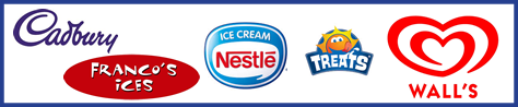 Top ice cream brands, Nestle, Walls, Frankos, Treats and Cadbury